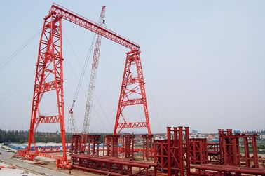 OEM Rubber Tyred Steel Truss Type Gantry Crane With Trolley in Red